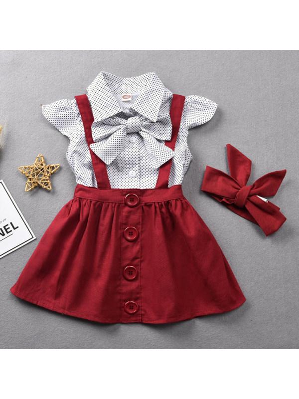 【12M-5Y】Sweet Polka Dot Shirt and Red Skirt Set