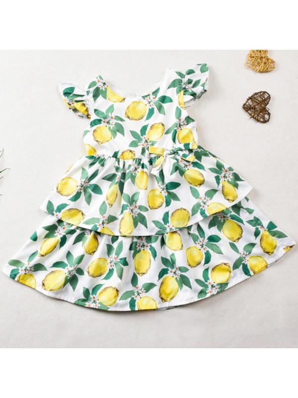 【18M-7Y】Sweet Fruit and Flower Print Dress