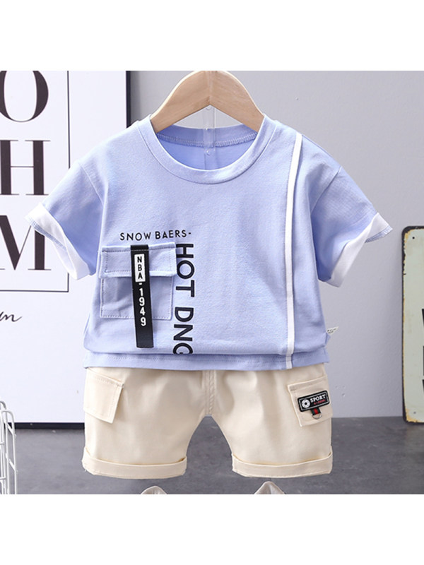 【12M-4Y】Boys Casual Letter Pattern Short-sleeved T-shirt Shorts Set