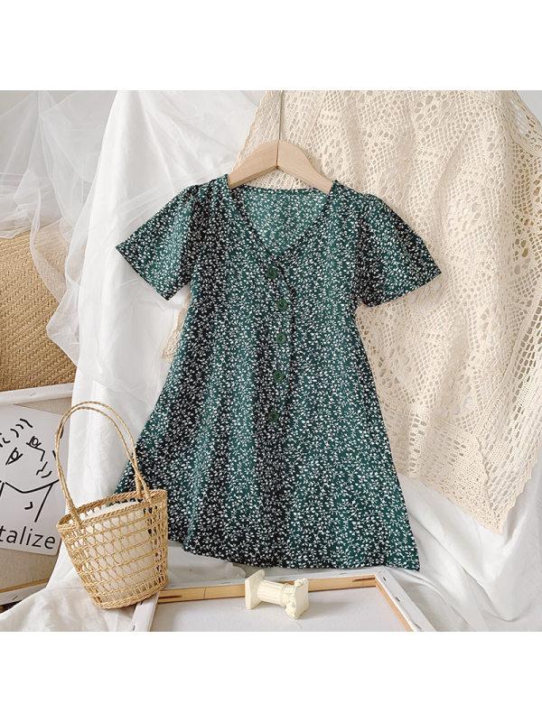 【18M-9Y】Girl Retro Floral Short-sleeved Dress