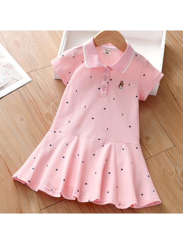 【18M-7Y】Girl Sweet Pink Puppy Embroidered Short Sleeve Dress