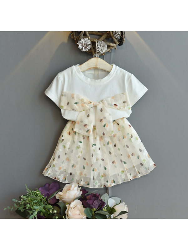 【18M-7Y】Girls Sweet Bow Stitching Short-sleeved Top Skirt Suit