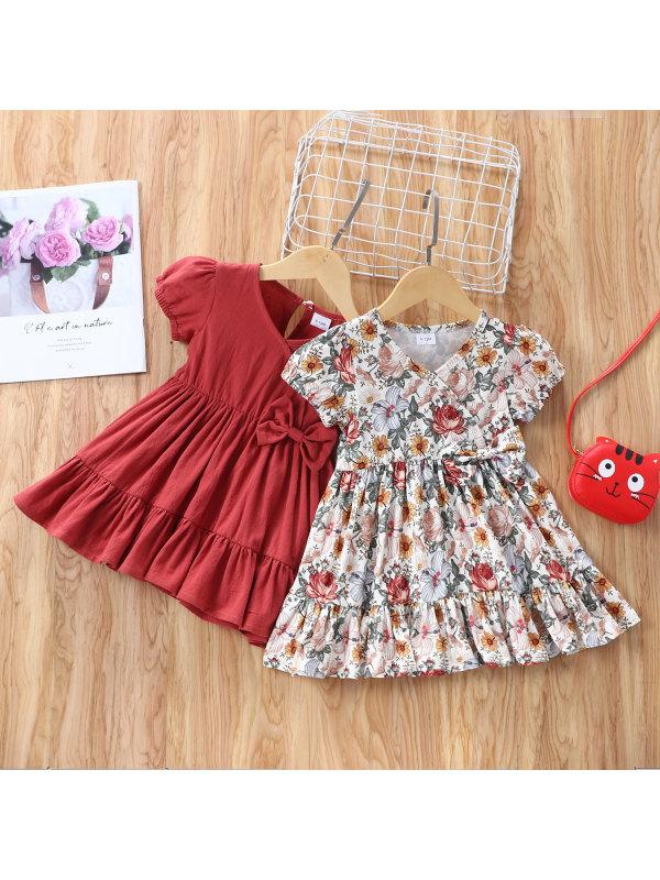 【6M-2.5Y】Infant Summer Short-sleeved Solid Color Bow Dress Ab