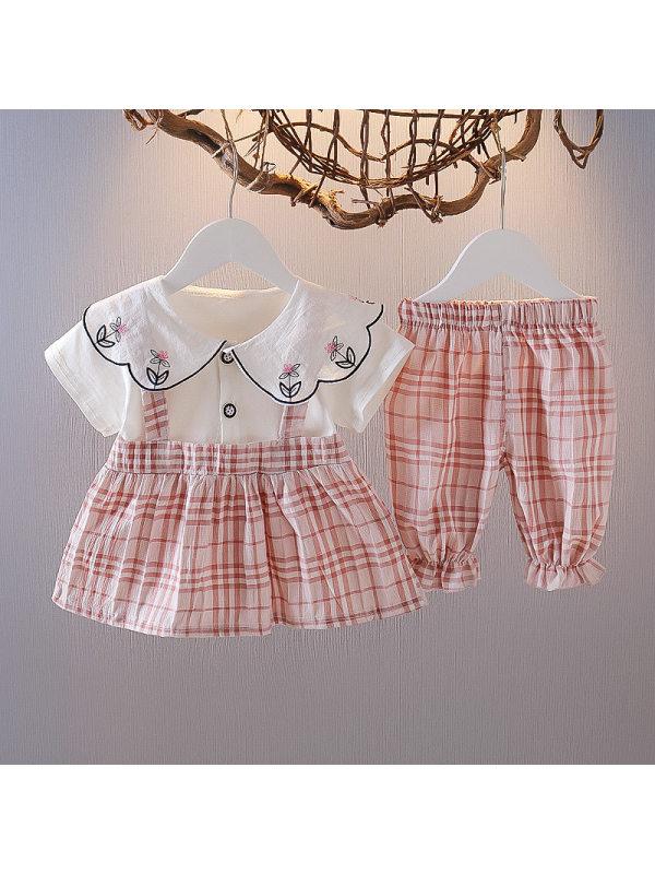【6M-4Y】Girls Two-piece Plaid Stitching Suspender Skirt Suit