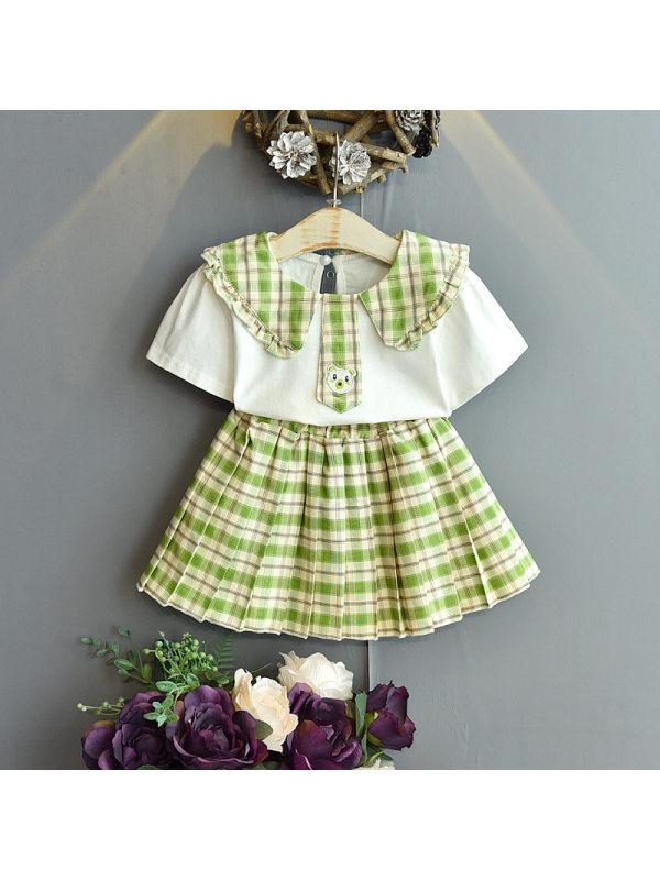 【18M-7Y】Girls Classic Sweet Short-sleeved T-shirt Plaid Skirt Suit