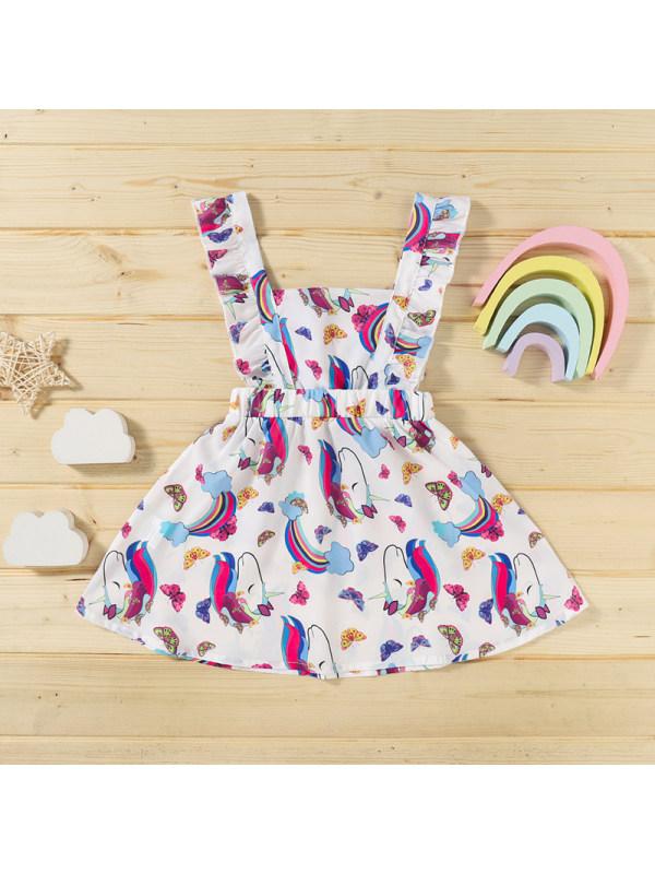 【18M-6Y】Girls Rainbow Horse Unicorn Print Tank Top Dress