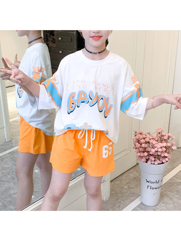 【2Y-13Y】Big Girl's Short-sleeved Casual Sports T-shirt Shorts Two-piece Suit