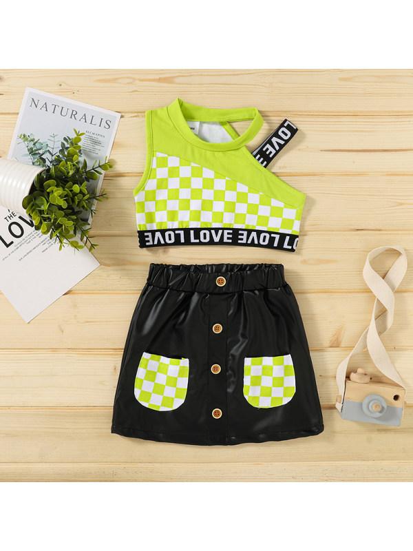 【18M-6Y】Girls' Oblique One-shoulder Sling Letter Blouse And Leather Skirt Suit