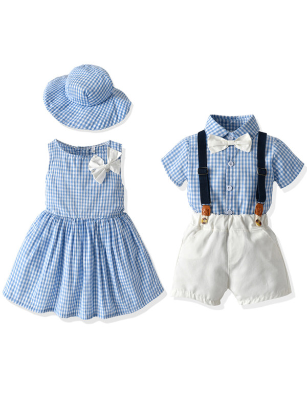 【12M-5Y】Boy And Girl Blue Plaid Dress And Set