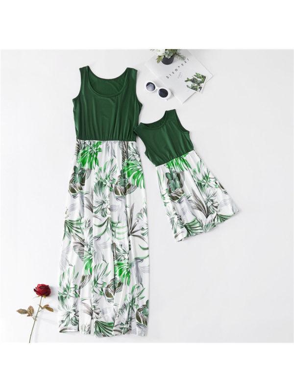 Round Neck Sleeveless Leaf Print Mom Girl Matching Dress