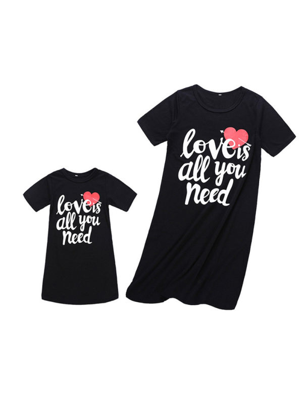 Casual Black Letter Print Red Love Print Mom Girl Matching Dress