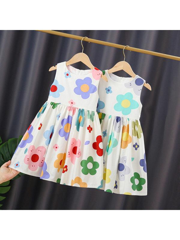 【2Y-9Y】Girls Print Small Fresh Casual Vest Dress
