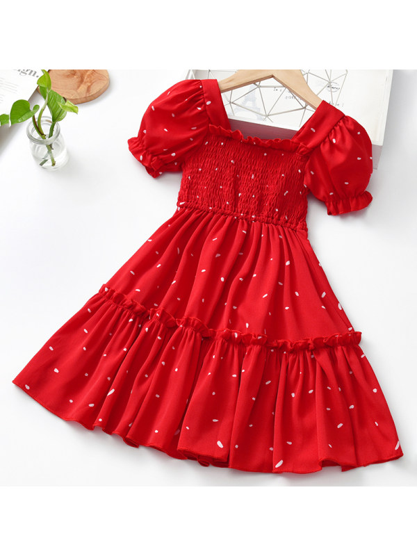 【18M-9Y】Girls Sweet Red Polka Dot Short Sleeve Dress