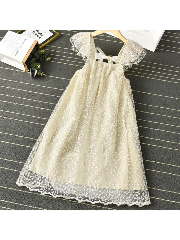 【3Y-11Y】Girls Sweet Lace Backless Dress