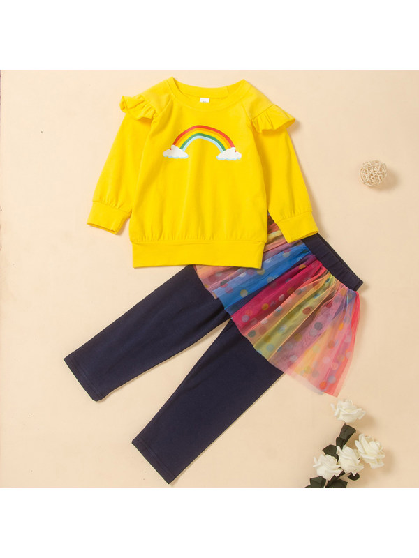 【18M-6Y】Girls Rainbow Print Rainbow Mesh Stitching Culottes Two-piece Suit