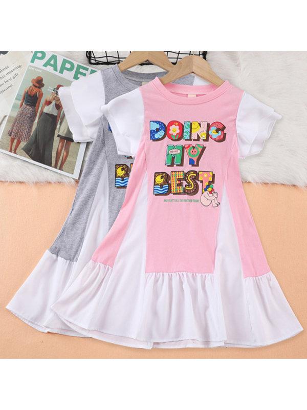 【3Y-9Y】Girl Sweet Cartoon Pattern Short Sleeve Dress