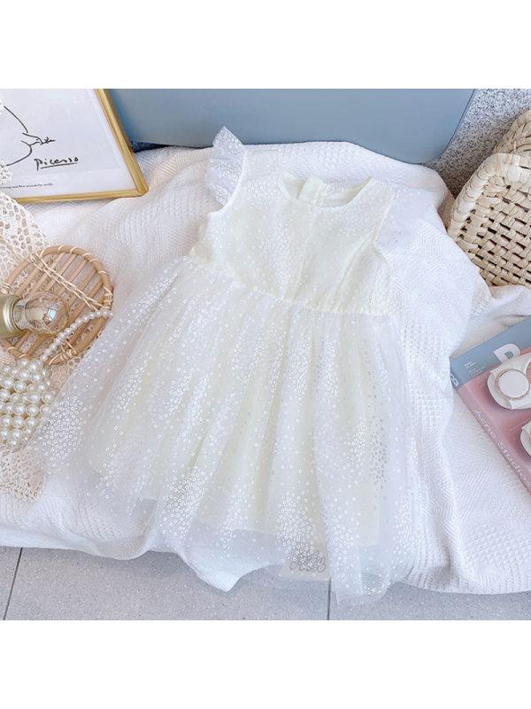 【18M-9Y】Girls Wings Princess Flying Sleeve Puffy Mesh Dress