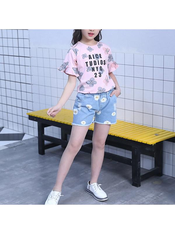 【3Y-13Y】Big Girl Short-sleeved T-shirt Denim Two-piece Suit