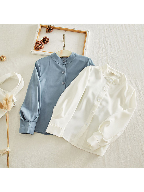 【18M-7Y】Girls Solid Color Small Stand-up Collar Single-Breasted Shirt