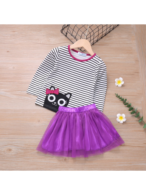 【18M-7Y】Girls And Girls Cartoon Print Striped Blouse And Mesh Short Skirt Two-piece Suit