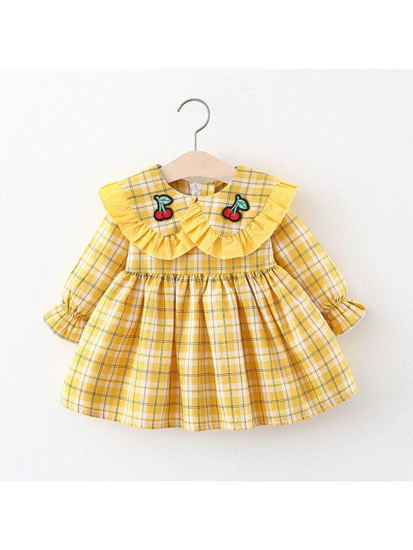 【6M-3Y】Girls' Plaid Stitching Collar Long-sleeved Dress
