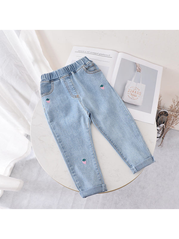 【18M-7Y】Girls' Fruit Embroidered Soft Stretch Denim Trousers