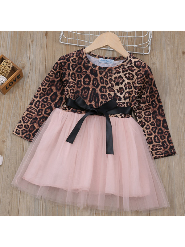 【18M-7Y】Girls Leopard-Print Mesh Stitching Long-Sleeved Dress