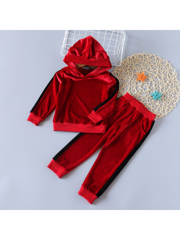 【18M-7Y】Girls Sweet Solid Color Hoodie Pants Suit