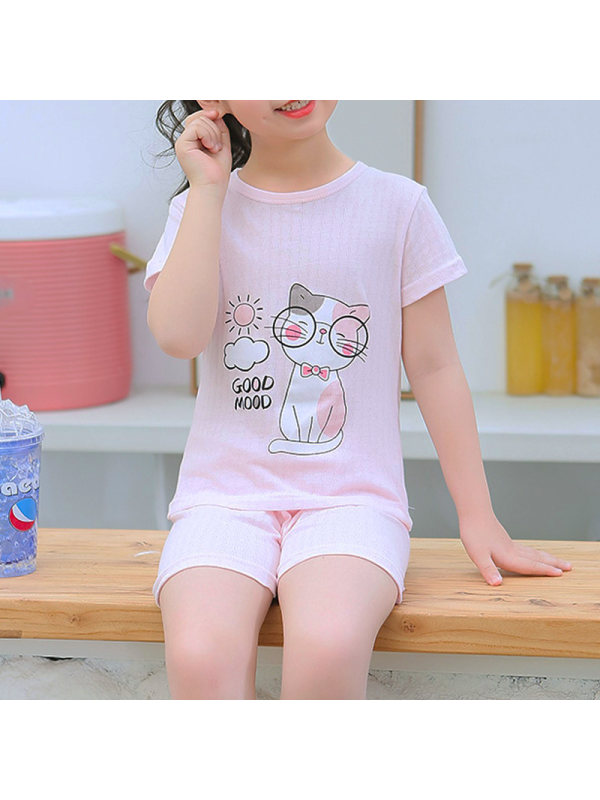 【2Y-11Y】Girls Cotton Summer Thin Round Neck 9-point Sleeve Pajamas Suit Home Service Basic