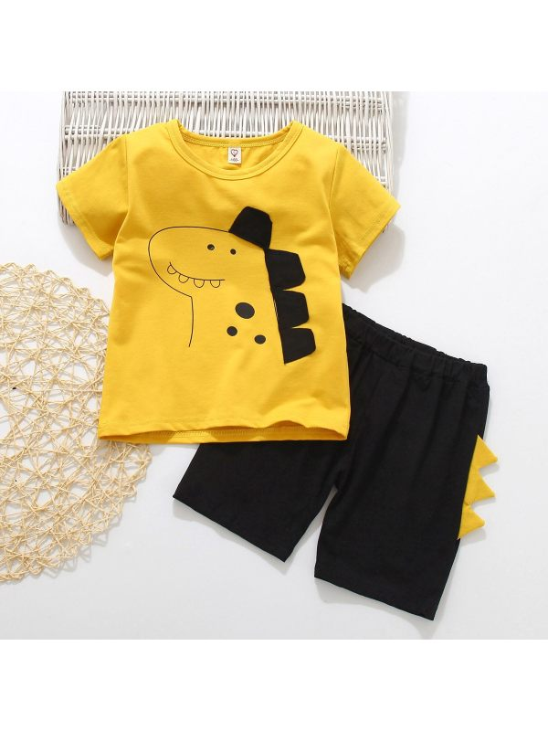 【18M-7Y】Boys And Girls Dinosaur Short-sleeved Shirt And Shorts Two-piece Suit