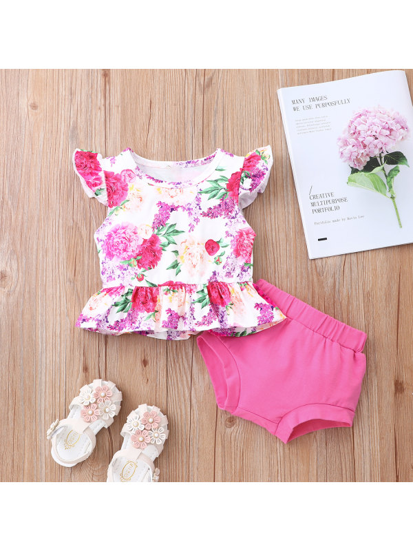 【6M-24M】Girls Flying Sleeve Floral Briefs Suit