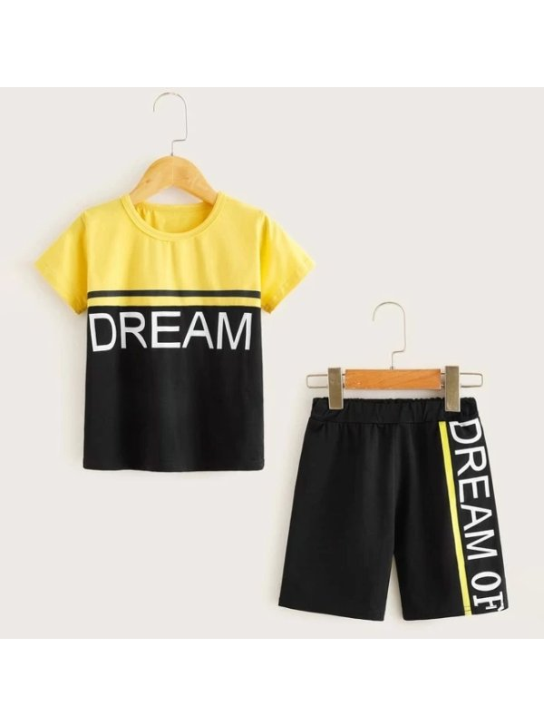 【18M-7Y】Boys' Casual Fashion Short-sleeved Two-piece Suit