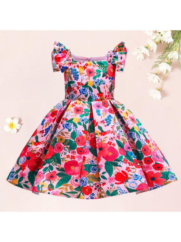 【18M-10Y】Sweet Red Flower Print Dress