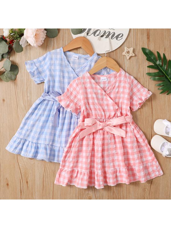 【3M-3Y】Cute Plaid V-Neck Ruffle Dress
