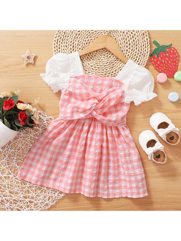 【3M-3Y】Cute Pink Plaid Puff Sleeve Dress