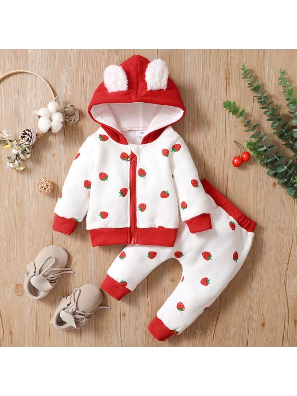 【0M-18M】Cute Strawberr Heart Shape Print Hooded Cardigan And Pants Set