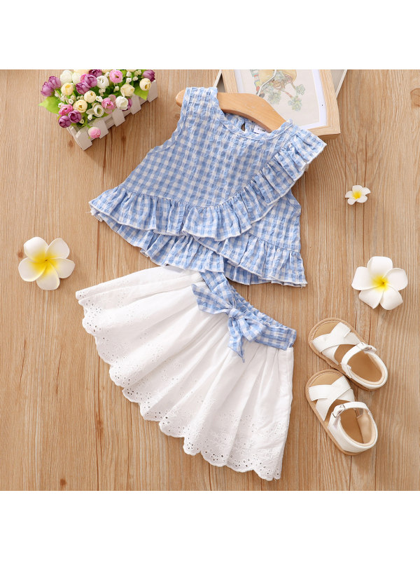 【3M-3Y】Cute Blue Ruffled Blouse And White Embroidered Skirt Set