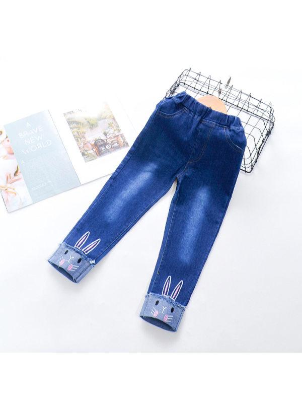 【18M-9Y】Girls Cute Rabbit Jeans