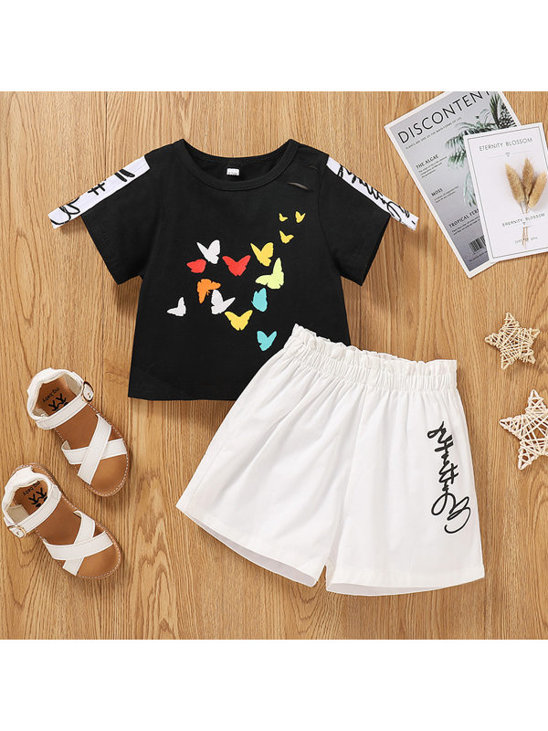 【18M-7Y】Girls Short-sleeved Butterfly Ripped Top And Shorts Suit