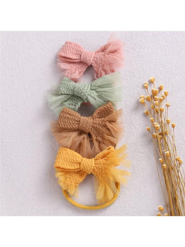 Girls Handmade Twist Woven Bow Headband