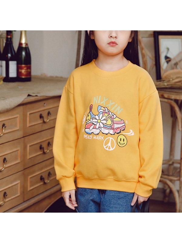 【2Y-13Y】Girls Cartoon Print Long-sleeved Sweatershirt