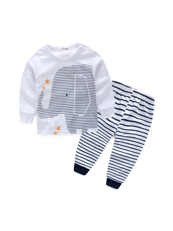 【6M-3Y】Two-piece Long-sleeved Cartoon Print For Babies