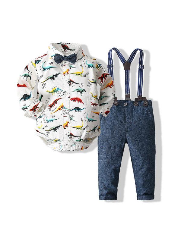 【6M-3Y】Boy's Dinosaur Print Shirt And Overalls