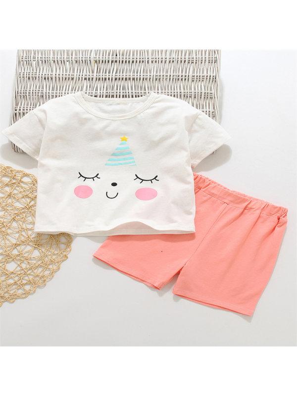 【18M-7Y】Girls Cartoon Print Short-sleeved T-shirt Set