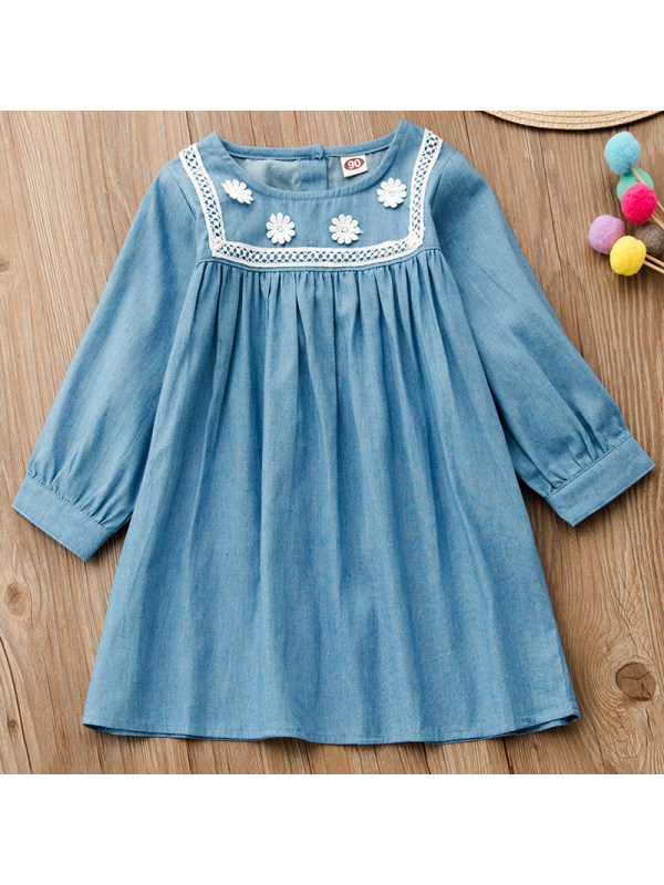 【18M-7Y】Girl Sweet Denim Lace Long Sleeve Dress