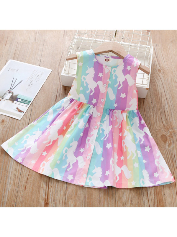 【18M-7Y】Sweet Unicorn And Rainbow Stripe Sleeveless Dress