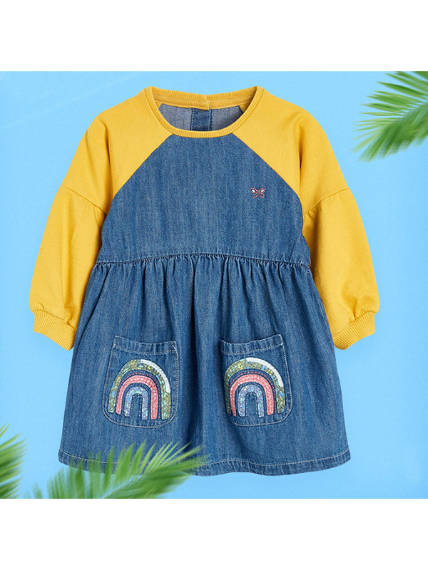 【18M-9Y】Girls Contrast Stitching Long-sleeved Denim Dress