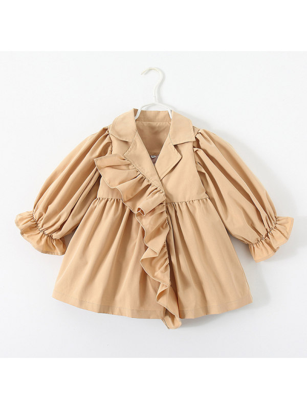 【18M-7Y】Girls Short Trench Coat With Puffy Sleeves