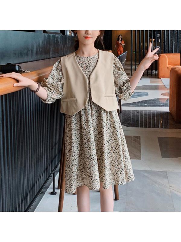 【3Y-13Y】Girls Waistcoat Vest With Round Neck Bubble Dress Suit