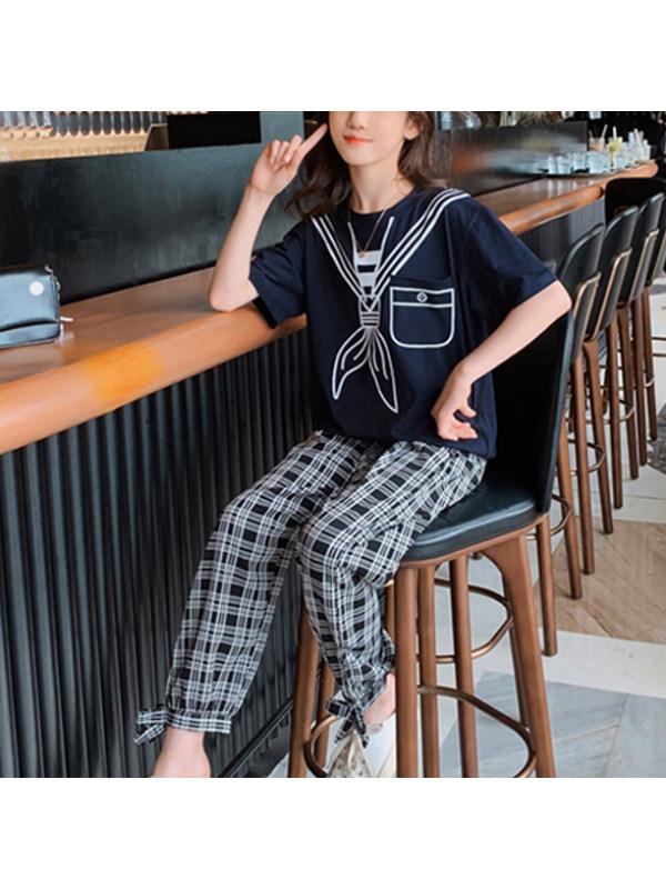 【3Y-13Y】Girls Round Neck Printed Short Sleeve Top With Plaid Pants Set